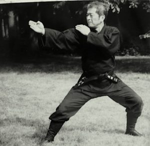 Hatsumi Sensei demonstrating Migi Seigan no Kamae, most common kamae of the koto Ryu